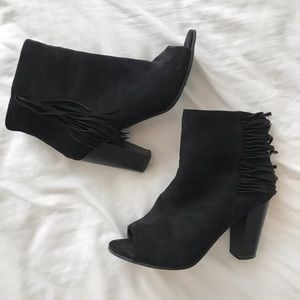 Shoes - Black Fringe Booties